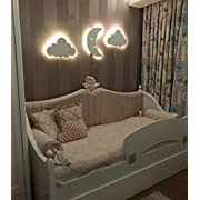 Nursery Boys Baby Kids Room Decor Wall Light Set of 3 Wooden Wall Light with LED, 100pcs Silver Star Wall Decals Gift!