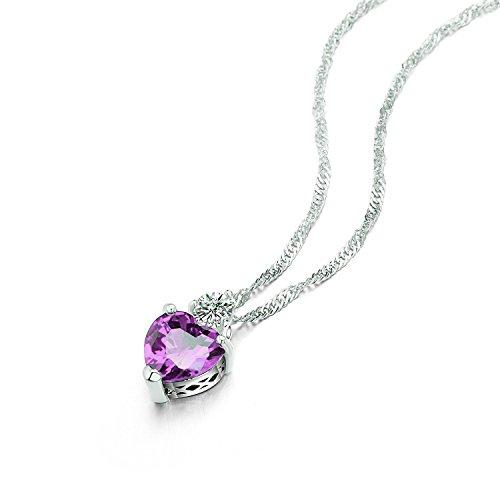Majesto 925 Sterling Silver Purple Heart Pendant Necklace Stud Earrings Bracelet Set For Women Teens Girls by Majesto (Image #1)