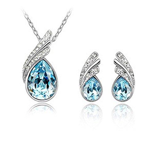Rhapsody Crystal Pendant - Shiny girl Ocean Rhapsody Stud Earrings Pendant Necklace Jewelry Set Made with Blue SWAROVSKI Crystal-Ocean Blue