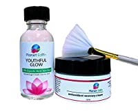 70% Glycolic Acid Chemical Skin Peel Kit with Hyaluronic Acid Recovery Cream Set and Fan Brush