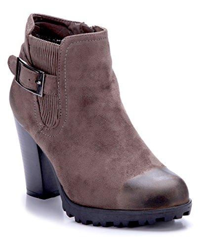 Blockabsatz Schuhtempel24 Boots Damen Stiefel Klassische 9 Schnalle Schuhe Used cm Look Khaki Stiefeletten wTHrFYxwq