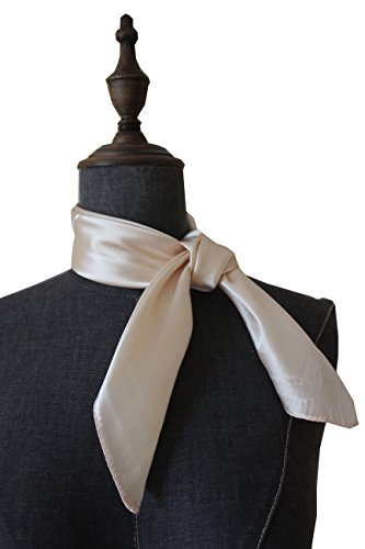 Silk square scarf pure color head scarf blend neckerchief (Light champange)