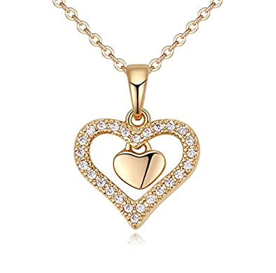 Buy nevi heart zirconia brass 18k gold plated princess pendant chain buy nevi heart zirconia brass 18k gold plated princess pendant chain jewellery for women girls gold online at low prices in india amazon jewellery aloadofball Choice Image