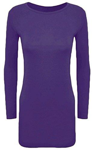 Hot Hanger Womens Long Sleeve Bodycon Short Mini Dress Top (28 (4XL), Purple) ()