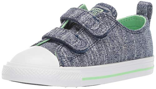 Name On Converse (Converse Baby Infant Chuck Taylor All Star 2V Pop Woven Low Top Sneaker, Navy/Light Aphid Green/White, 9 M US)