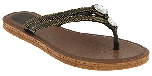 Capelli New York Braided opaque jelly thong with gem trim Ladies Fashion Flip Flops Black 8