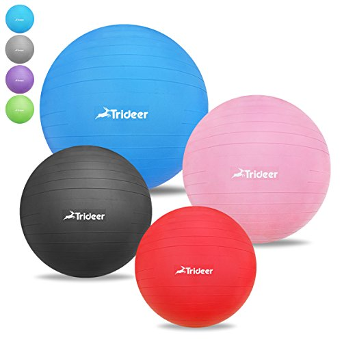 2000lbs Anti-Burst & Anti-Slip Exercise Ball, Birthing Fitness Yoga Pilate Balance Ball, Desk Chair for Office and Home - TRIDEER Extra Thick Stability Core Cross Training Ball, Quick Pump Included