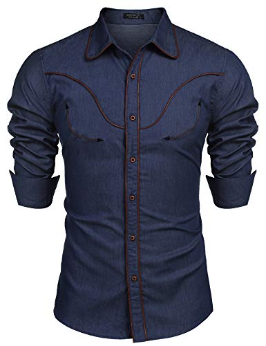 COOFANDY Mens Western Cowboy Shirt Embroidered Denim Long Sleeve Casual Button Down Shirt -