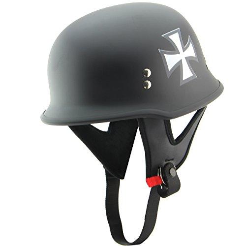Outlaw T-75 Iron Cross German Style Flat Black Half Helmet - Large