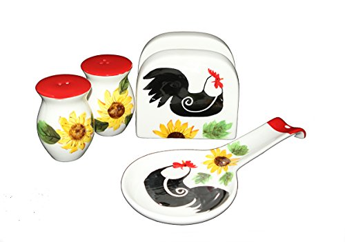 Tuscany Red White Sunflower Rooster Hand Painted, 4pc Stove Top Set, Napkin,Salt, Pepper and Spoon Rest, 86825/28 by ACK