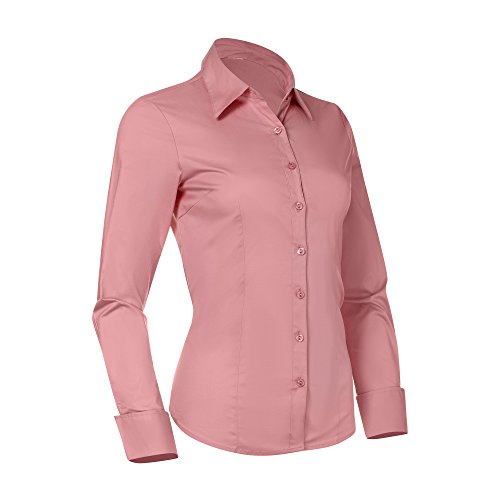 Cotton Tailored Blouse - Button Down Shirts for Women, Fitted Long Sleeve Tailored Shirt Blouse (X-Large, Pink)