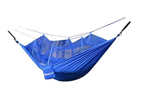 (WoneNice Hammock with Mosquito Net, Portable Lightweight Nylon Parachute Multifunctional Hammock with Net and Tree Straps for Camping, Backpacking, Travel, Beach, Yard.)