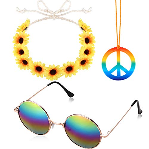 3 Pieces Hippie Costume Set Includes Rainbow Peace Sign Necklace Flower Headband and Hippie Sunglasses