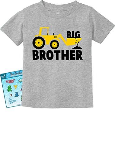 - Tstars - Big Brother Gift for Tractor Loving Boys Toddler/Infant Kids T-Shirt 5/6 Gray