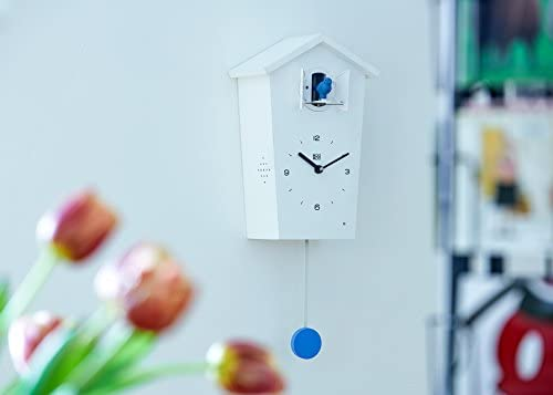 KOOKOO Birdhouse Blanco, Reloj cucu Design Moderno, Sonidos de 12 Aves o el Cuco, Reloj pájaros cantores c. péndulo, grabaciónes Naturales de Jean-Claude Roché