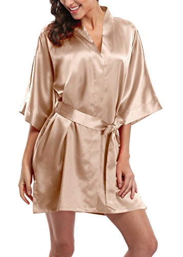 Womens Short Satin Kimono Robes Pure Color Sleepwear Bathrobe for Wedding Party
