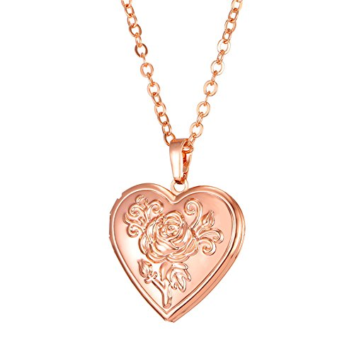 U7 Photo Locket Pendant Heart Shaped Rose Gold Plated Necklace 22