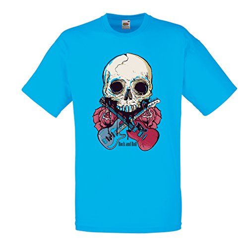 T shirts for men Rock'n'Roll (Large Blue Multi Color)
