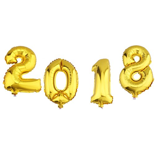 Wholesale Aerfas 16 Inch Gold 2018 Number Foil Balloons,2018 Graduation Decorations New Year Eve Festival Party Supplies for sale