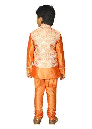 Ahhaaaa Kids Ethnic Indian Dupion Silk Kurta Pyjama and Waistcoat Set for Baby Boys (9-10 Years, Orange) by ahhaaaa (Image #1)