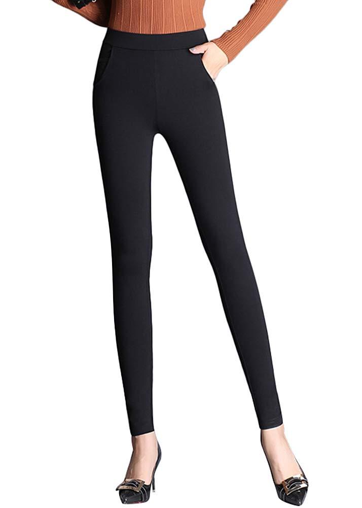 Smibra Womens Stretch Elegant High Waist Slimming Solid Pencil Pants Work Casual