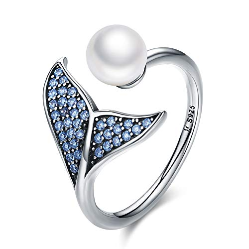 MallDou Jewelry S925 Sterling Silver Mermaid Tail Ring for Women Dolphin Tail Adjustable Blue CZ Shell Pearl Finger Ring