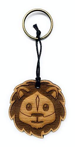 Schlüsselanhänger Löwe aus Holz optional mit individueller persönlicher Gravur !