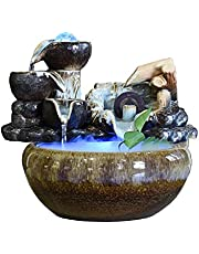 Tabletop Fountain Indoor Waterfall Tabletop Fountain Indoor Cascading Waterfalls with LED Light Rolling Ball,Feng Shui Zen Tabletop Fountains Waterfall for Indoor Table Desk Zen Meditation Indoor Déco