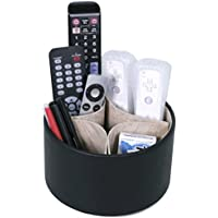 Tech Swiss TS727BK Remote organizer for the living room coffee table - Spinning storage for tv remotes, pens, notes, magazines, and phones