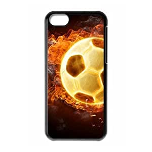 Customized Dual-Protective Case for Iphone 5C, Fire Soccer Ball Cover Case - HL-R661182