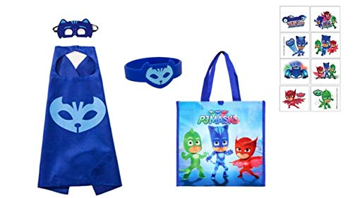 Super Heroes Catboy Gecko Owlette Halloween Costume Dress Up Pretend Play Outfit + Tote Bag (Blue - Catboy)]()