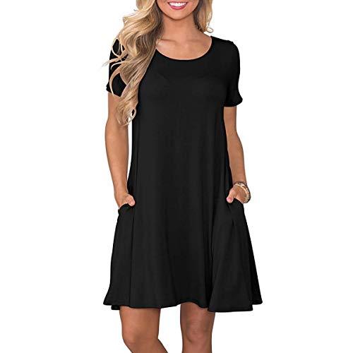 Shirt Dresses Women's T Black Summer Casual WUqqIt
