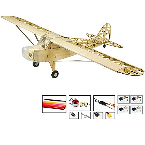 Upgrade RC Balsa Wood Airplane Piper Cub J3 Model Aircraft, 47'' Wingspan Laser Cut RC Plane Kits to Build for Adults, DIY Electric 4CH Radio Controlled Airplane Unassembled RC Kit for Men Hobby Fly (Rc Plane Kit Electric)