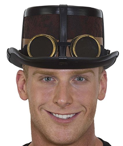 Caufields Brown Steampunk Hat with Black Straps,One Size