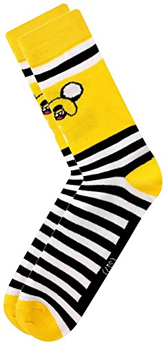 Official Licensed Men's Adventure Time Jake Character Crew Socks - M/L