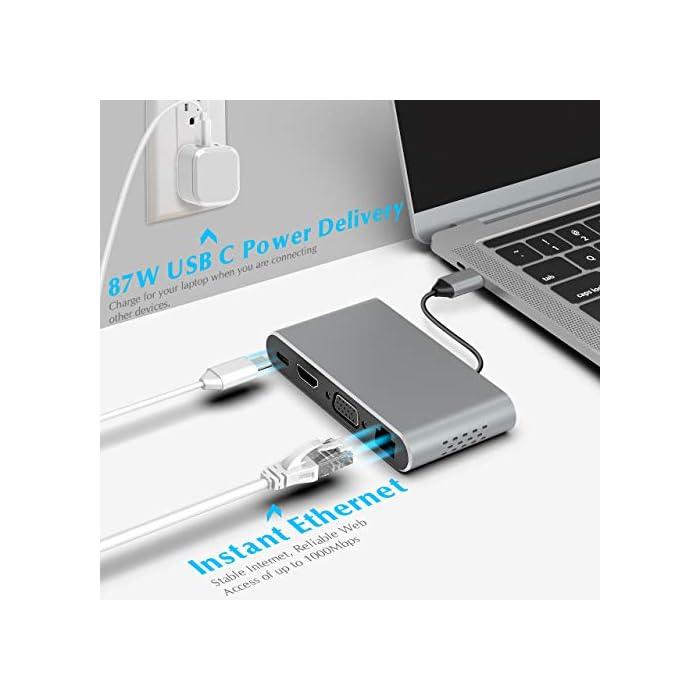 41Fco2Gt%2BuL Haz clic aquí para comprobar si este producto es compatible con tu modelo 【Multipuerto USB C Hub】Este concentrador USB C plug-and-play incluye 3 puertos USB-A 3.0, HDMI 4K @ 30Hz, salida de video VGA 1080P @ 60Hz, puerto Ethernet 1000M, conector de audio de 3.5mm y puerto PD tipo C de hasta 100W.( Nota: Este concentrador no es compatible con dispositivos sin Thunderbolt 3. La Surface no era adecuada.) 【Salida Ultra HD 4K y 1080P】 Con este centro de acoplamiento, su teléfono inteligente, PC puede conectarse a una pantalla grande o proyector a través de HDMI o VGA para una experiencia cinematográfica. ¡Disfruta de la experiencia visual del juego / película / fútbol 4K y 1080P en lugar de la pantalla pequeña! Nota: Cuando los puertos de salida HDMI y VGA funcionan simultáneamente, la resolución máxima de ambos puertos es 1080P. (El modo extendido solo funciona para la computadora portátil).