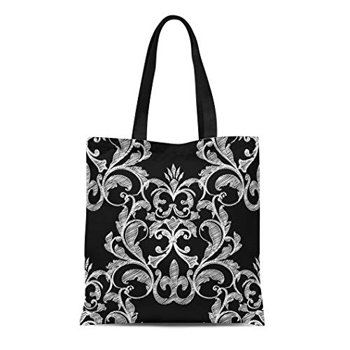 Semtomn Cotton Canvas Tote Bag Floral Damask Vintage Arras Flowers Tracery Leaves and Antique Reusable Shoulder Grocery Shopping Bags Handbag Printed