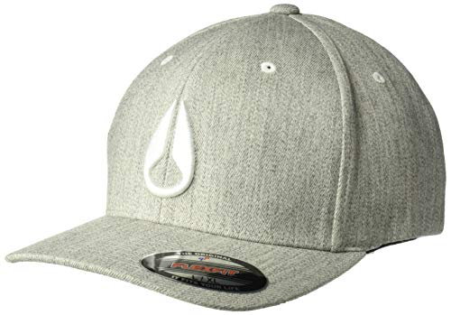 NIXON Men's Deep Down Ff Athletic Fit Hat, Heather Gray/White, Small/Medium ()