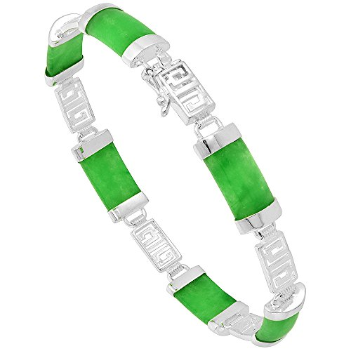 Sterling Silver Dyed Green Jade Link Bracelet Asian Inscription Accent Rectangular, 7 inch long ()