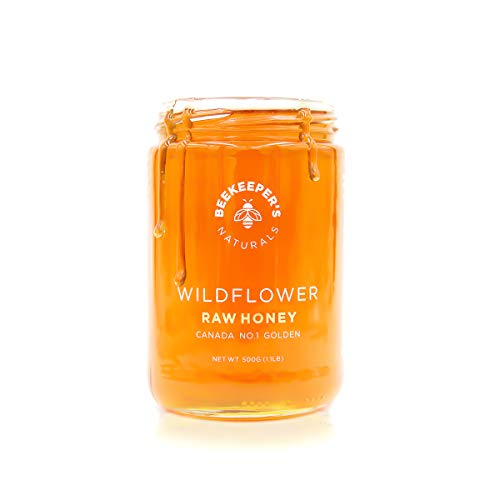 BEEKEEPER'S NATURALS Wildflower Honey - Raw, Wildcrafted, and Unprocessed- Rich in Nutrients and Beneficial Enzymes - Notes of Mint & Lavender-100% Raw, Pure Honey - Paleo-friendly, Gluten-Free (1lb)