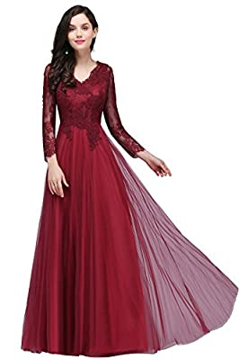 Babyonlinedress Long Sleeve Saclloped Double V-neck Foral Lace Formal Prom dress