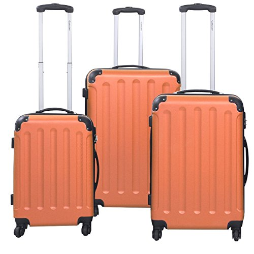 [GLOBALWAY 3 Pcs Luggage Travel Set Bag ABS+PC Trolley Suitcase Orange] (Primark Halloween Costumes Uk)