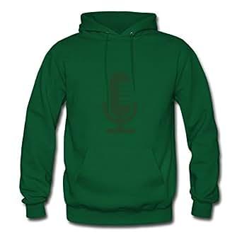 Evanvaughn Women Microphone_f1 Image Round-collar Funny Green Sweatshirts In X-large