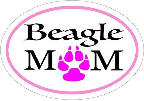 ION Graphics Beagle Decal - Pink Oval Beagle Mom Beagle Vinyl Sticker - Beagle Bumper Sticker - Beagle Mom Decal - Perfect Beagle Owner Gift - Made in The USA Size: 4.7 x 3.3 inch