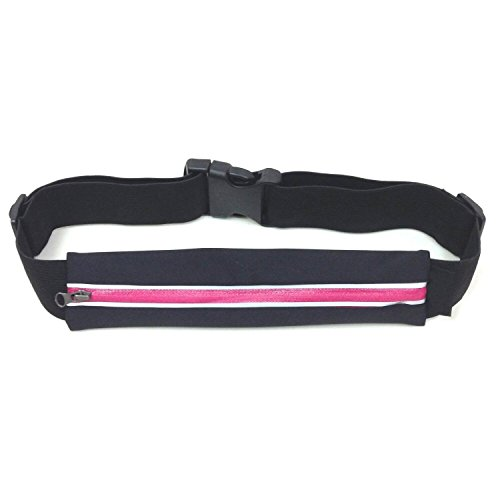 Mona Waist Bum Bag for RunningCyclingJoggingHikingCampingWaterproof Security and Elastic Purse Pouch Belt for Sports and Fitness ( Black with Red)