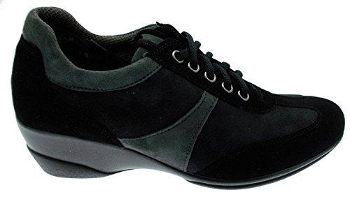 Cordones de zapatillas para mujer art R0365 ante, cuña, color negro