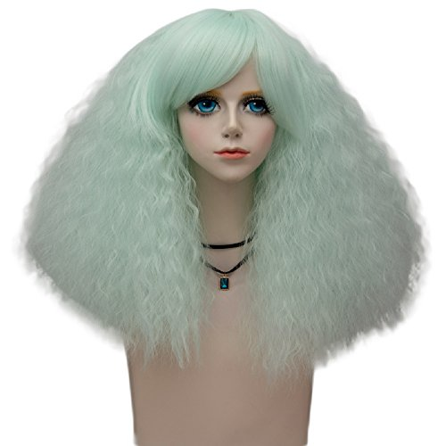 Probeauty Big-Bang Collection 40cm Lolita Gothic Curly Wigs Hair Synthetic Cosplay Wig+Cap (Side Bangs, Neon Mint F11)