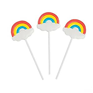 Fun Express Rainbow Character Lollipop Suckers - 12 Pieces