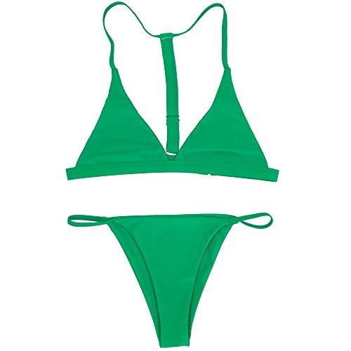 X-HERR Women's Triangle Top Thong Bottom Bikini Swimwear with Racerback (Large (US Size Medium), Light Green)