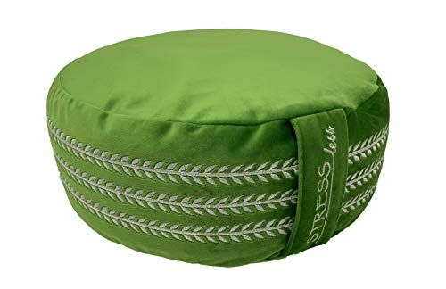 Stress Less Meditation Cushion Buckwheat Zafu Pillow with Floral Design and Suede Cover (Green) ()
